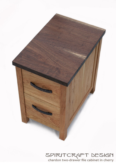 Chardon Cherry and Walnut Two Drawer File Cabinet - Modern - Buffets And Sideboards - chicago ...