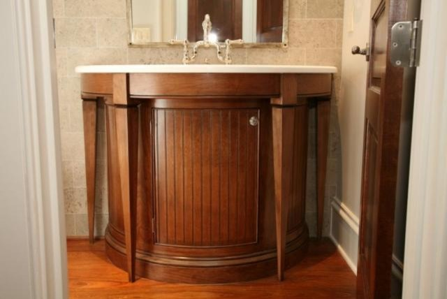 bathroom cabinets custom rounded sink contemporary