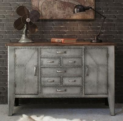 Rivet Industrial Metal Sideboard - Industrial - Buffets And Sideboards ...