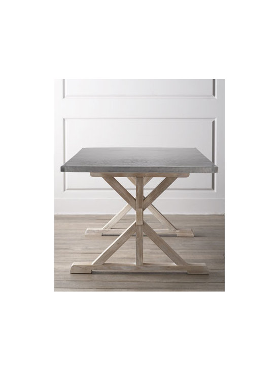 """Bernhardt - Bernhardt """"Fowler"""" Dining Table - Trestle-style table features a hand-hammered top to bring industrial-chic to the dining room. Base made of mindi solids and European beechwood with sandblasted driftwood finish. Hand-hammered, brushed stainless steel top. 80""""W x 40""""D x 30""""T. Imported. Boxed weight, approximately 281 lbs. Ple"""