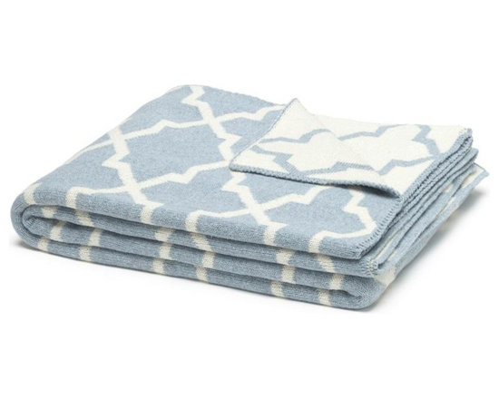 Eco Reversible Morocco Throw - Milk/Blue Pond - This modern and supremely chic throw blanket in Milk/Pond Blue Colour will make a big impact in any room. With its geometric design and super soft feel, use this blanket on a chaise, bed or chair to add style and a touch of glam to your interior.