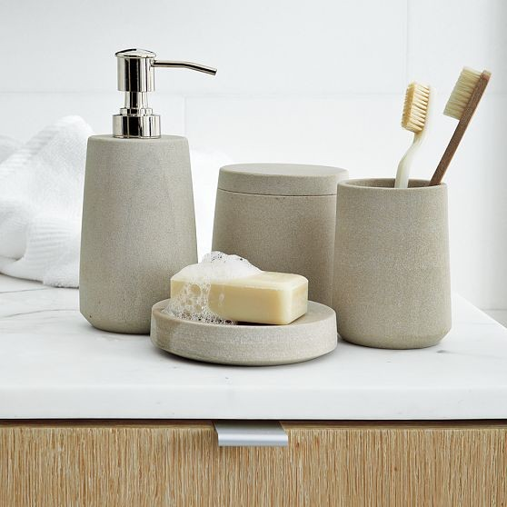 Stoneware bath accessories modern bathroom accessories by west elm - Modern bathroom decorations ...