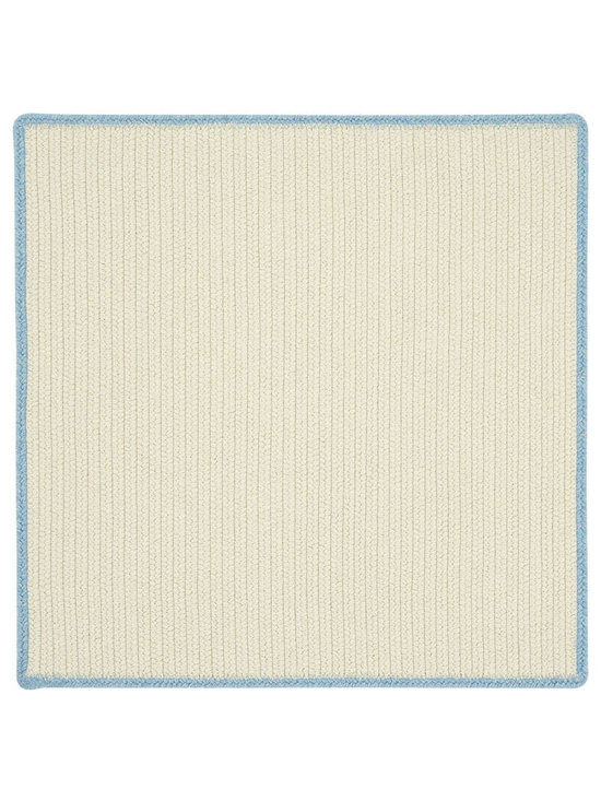 Hableland rug in Cream Blue Bell - We took clean neutral cream and grey and added a fun whimsical pop of color on the edge to coordinate with our Hableland collection of motif hooked rugs. These braids can literally live in any room in your home.