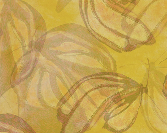 eWings Tone Honey Gold Designer Fabric - Subtle layers of butterfly wings gently waft across this tone on tone solid. It has a 36 inch repeat for a truly hand painted look with the carefree wash & dry. Mix & match with fabrics in Emerging Wings collection.