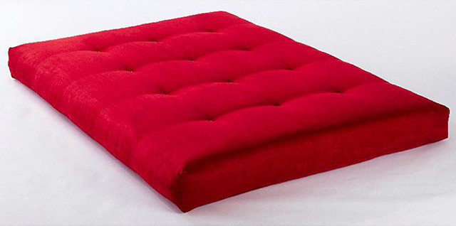 Suede Red VertiCoil Spring 8 inch Thick Full size Futon