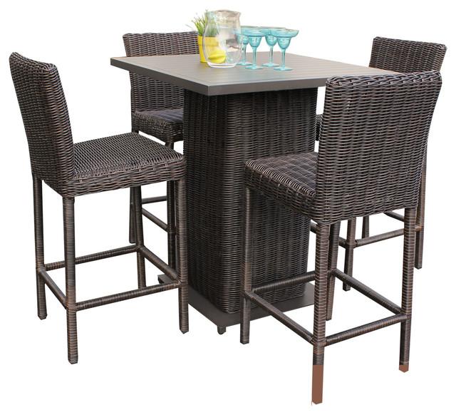 Rustico Pub Table Set With Barstools 5 Piece Outdoor Wicker Patio Furniture