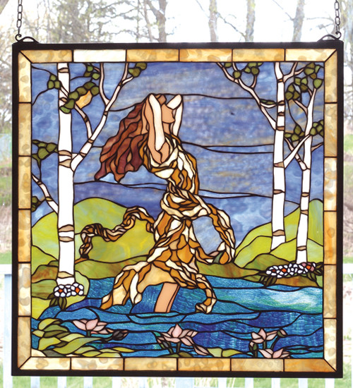 22 Inch W x 22 Inch H Ecstasy in Woodland Stream Windows modern-stained-glass-panels