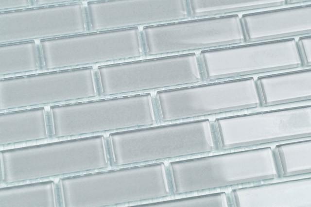 Bodesi Beacon Gray Solid Color Subway Mosaic Glass Tile 6 X12 Half