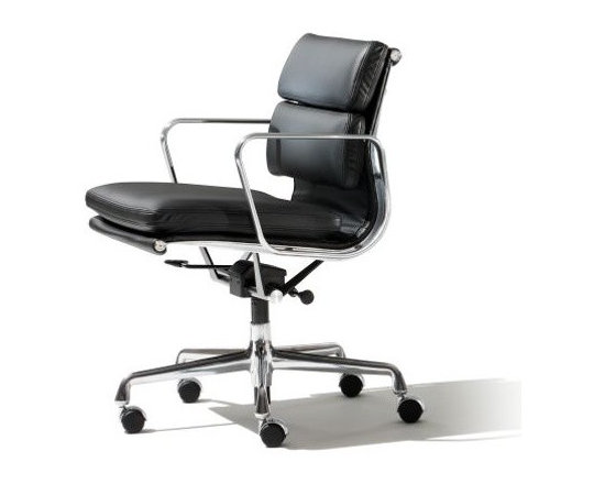 Herman Miller - Eames Soft Pad Management Chair - A distinctive profile, a taut seat sling and soft, thick cushions: in concert, they yield the Eames Soft Pad Chair (1969). Able to be used in a variety of home, lobby and office settings, the chair evolved from the Eames Aluminum Group – furniture originally developed for a private residence designed by Eero Saarinen and Alexander Girard. With the addition of two-inch-thick seat cushions, the Soft Pad Chair retains the style of the earlier group, but gains significant comfort. This original is an authentic, fully licensed product of Herman Miller®, Inc. Eames is a licensed trademark of Herman Miller. Available in numerous upholsteries, including Spinneybeck® Vicenza leather – a high-quality, Greenguard-certified leather with a breathable finish that protects against UV rays and spills. Classic design has been updated with a pneumatic lift to accommodate a wider range of body types. Offers easy height adjustability and a tilt and lock function. Made in U.S.A.