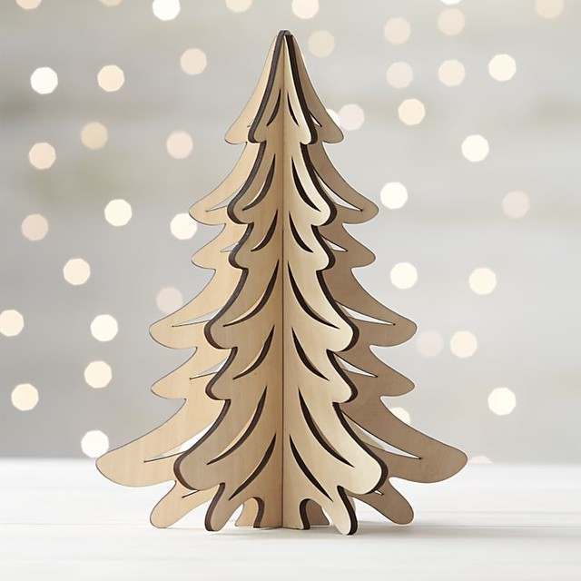Large Natural Laser-Cut Tree - Contemporary - Holiday Accents And ...