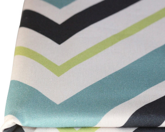 PURE Inspired Design - Chevron Pillow, Surf/Lime/Ink/Natural, Swatch - Chevron organic cotton canvas swatch in Surf, Lime, Ink, and Natural.  All our pattern organic fabric is grown, woven, and printed in the USA.
