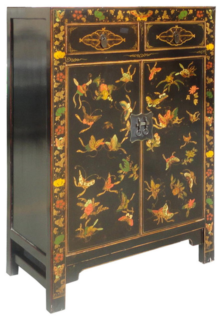 Chinese Solid Wood Hand Painted Butterfly Graphic End Table / Night Stand tropical-side-tables-and-end-tables