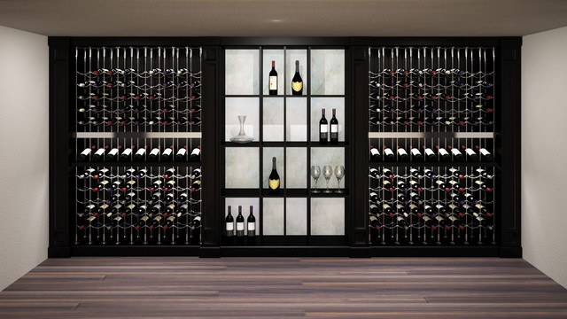 Custom Wine Cellar featuring the Cable Wine System transitional-rendering