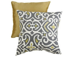 Decorative Damask Square Toss Pillow, Gray/Yellow contemporary pillows