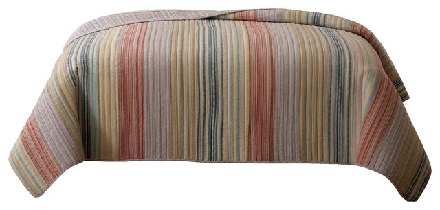 Retro Chic Pastel Stripe Quilt Twin Transitional