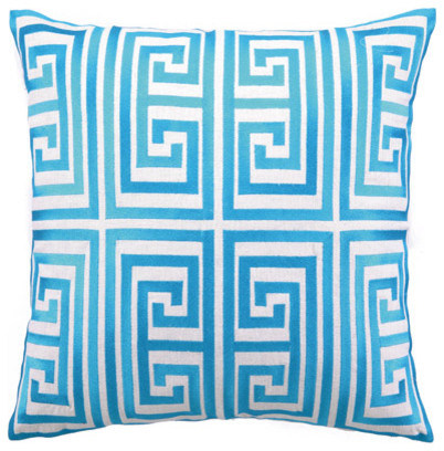 Trina Turk Pillow Embroidered Linen Greek Key, Turquoise contemporary-decorative-pillows