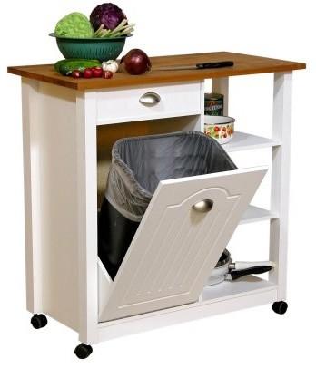 Venture Horizon Butcher Block Top Kitchen Cart with Trash ...