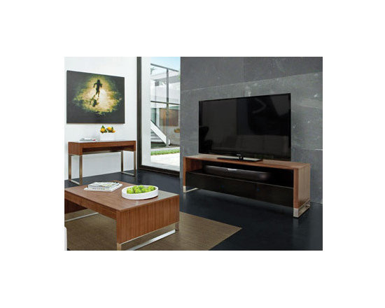 Furniture - A clean, linear design, CASCADIA home theater cabinets are an elegant way to present a TV and components. The substantial top and side panels are complemented by refined reveal details. A grey tinted glass flip-down door keeps components neatly out of sight. CASCADIA's generously sized open shelf is ideal for a speaker additional components. See also the coordinating CASCADIA Table and Office collection.