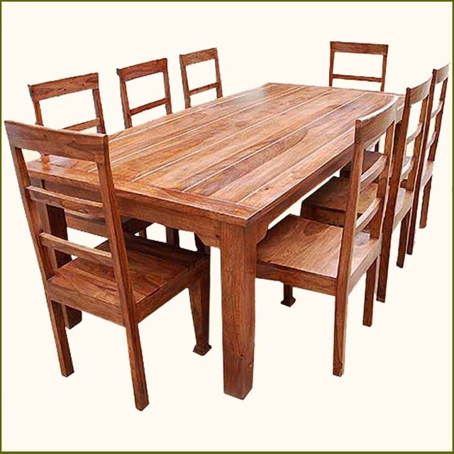 Wooden Dining Table Set: 9 Pc Solid Wood Rustic Contemporary Dinette Dining Room