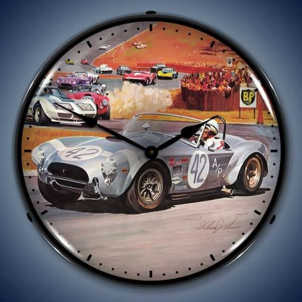 Cobra Race Lighted Wall Clock 14 x 14 Inches eclectic-clocks