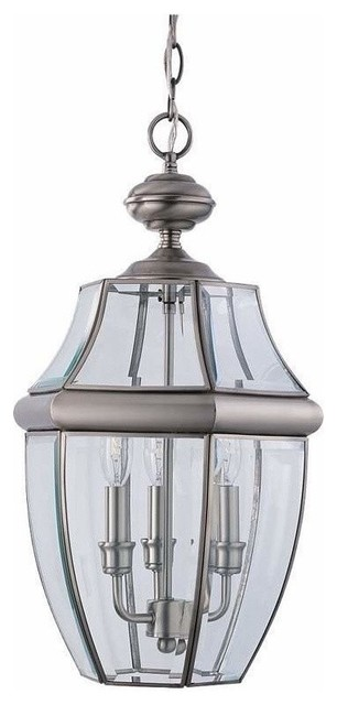 3-Light Pendant Antique Brushed Nickel traditional-outdoor-lighting