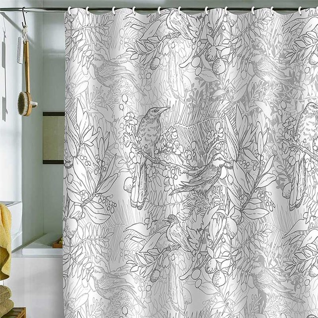DENY Designs Geronimo Studio Gray Birds Shower Curtain eclectic-showers
