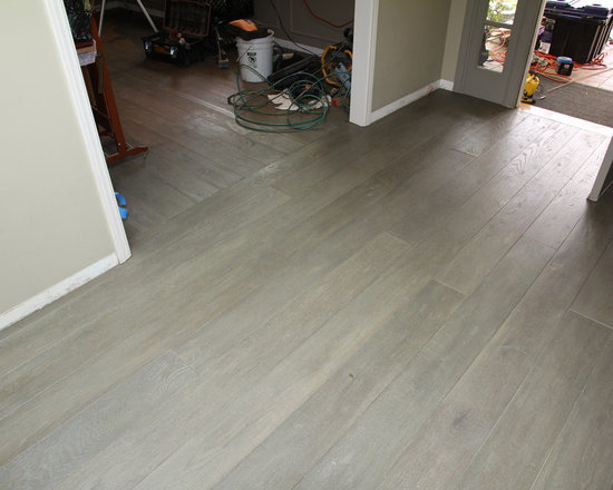 Residential remodel - Pacific Palisades - Custom grey color European oak installed