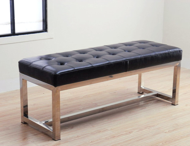 Liberty black leather bench contemporary indoor benches by