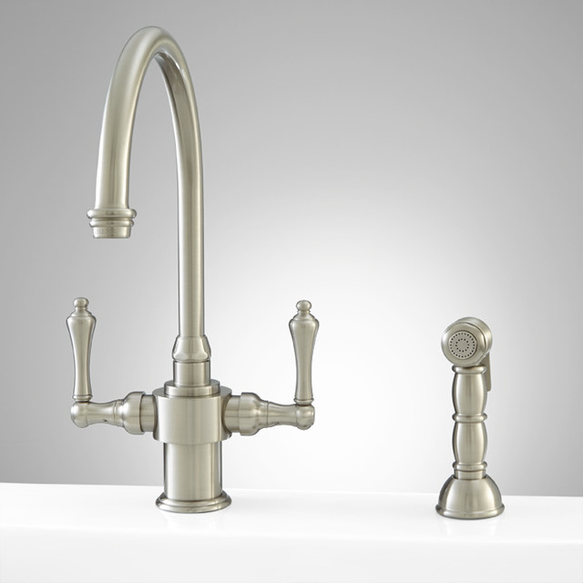Aiken Single hole Kitchen Faucet with Hand Spray Brushed