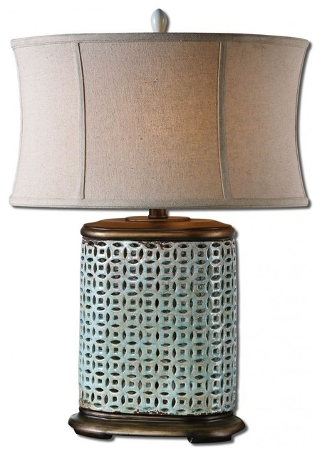www.essentialsinside.com: rosignano crackled blue table lamp contemporary-table-lamps