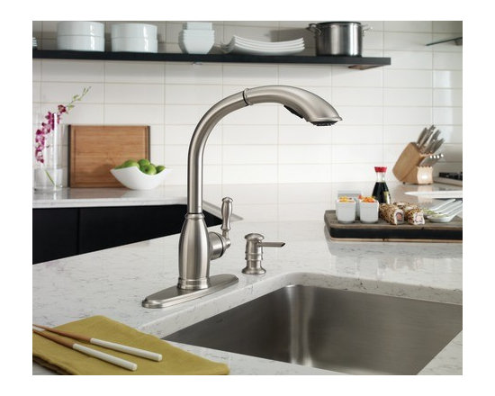 Moen Sage Spot resist stainless one-handle high arc pullout kitchen faucet - The Sage® Collection's delicate, unadorned style is a study in tasteful simplicity, imparting an air of calmness.