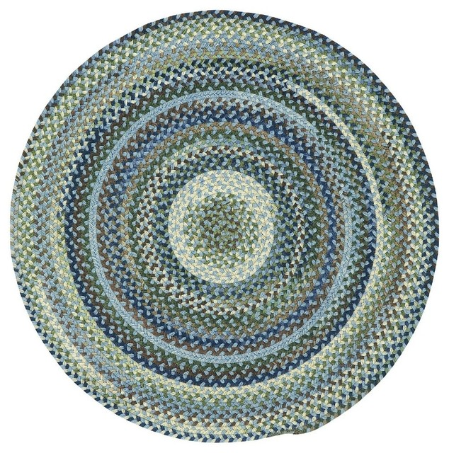 Braided manchester round 3 39 round light blue area rug for Round area rugs contemporary