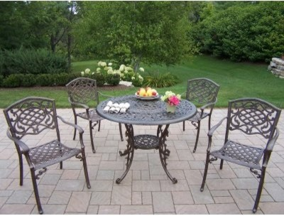 Oakland Living Mississippi Cast 42 in. Patio Dining Set - Seats 4 traditional-patio-furniture-and-outdoor-furniture