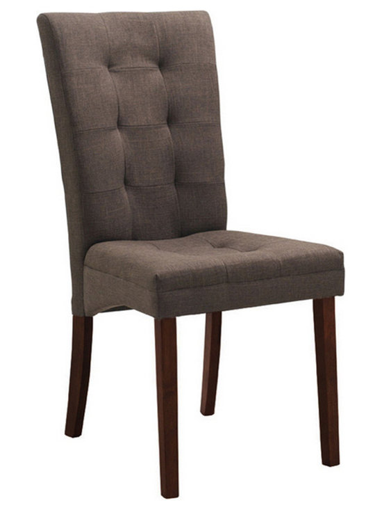 Baxton Studio - Baxton Studio Anne Brown Fabric Modern Dining Chair (Set of 2) - Though decidedly designed for an informal dining room furniture arrangement, your favorite decor easily brings this chair up the ranks to being worthy for an elegant dinner party. Our Anne Dining Chair is made with a beautiful neutral taupe brown twill fabric in a panel-stitched, button-free tufting design. The solid wood legs are finished in a deep, dark brown stain. Finishing off your new contemporary dining chair is a foam cushion. Made in Malaysia; assembly is required. Spot clean only.