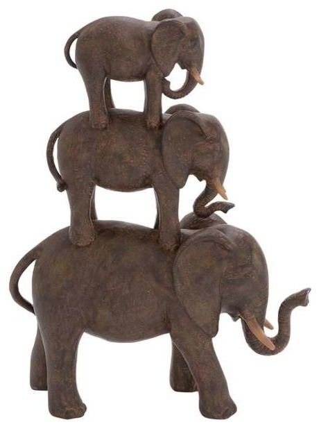 Poly Stone Elephant Stack Of Three Traditional Home