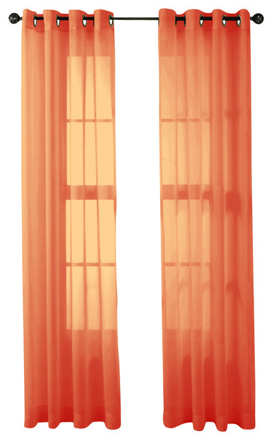 ... Panels, Orange - Traditional - Curtains - by Home Linen Collections