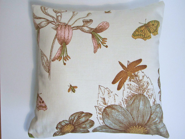 Modern Botanical Pillow : Modern Pastel Floral Dragonfly Botanical Pillow Cover - Modern - Decorative Pillows - by Asmus ...