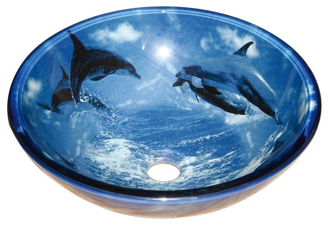Glass Sinks Blue Dolphins Glass Vessel Sink Round 13192 - Modern ...