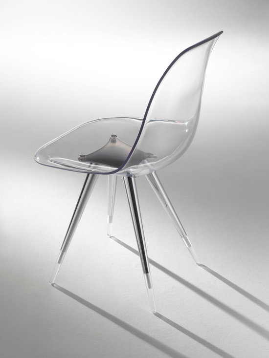 """Angel Modern Side Chair by Kubikoff - Angel chair with a basic structure and a very refined simplicity. The combination between the chromium-plated part and the acrylic part of the legs creates a curious """"suspended"""" effect, increased by the possible use, for chair and armchair, of a shell in transparent polycarbonate. Seatpads are available in various colors. Also available in leather"""