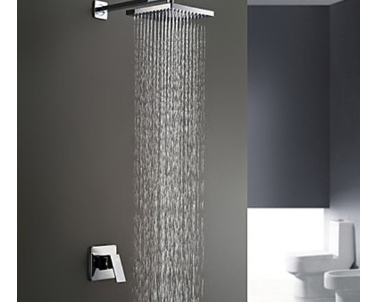 Shower Faucets - Chrome Finish Wall Mount Rain Single Handle Shower Faucet--FaucetSuperDeal.com