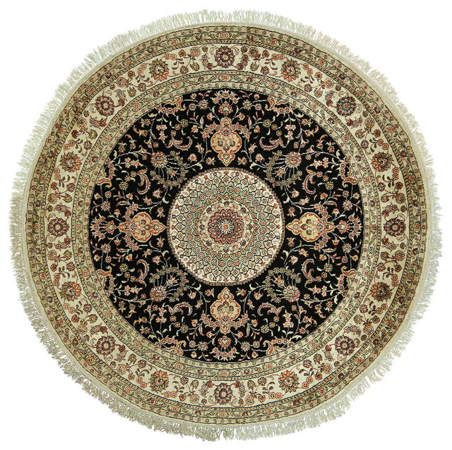 Shop Classical Kashan Medallion Hand Knotted Persian Wool: New Round Oriental Black Pure Silk Kashan Hand Knotted