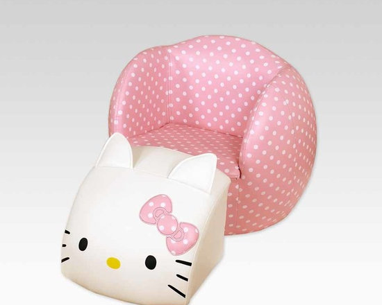 Kids Furniture - The Hello Kitty Peek-A-Boo Chair + Ottoman brings together the art of decorating and puts the fun in function. This two piece set has Hello Kitty sitting on a durable, foam-padded polka dot chair. Lift off the Hello Kitty face and it becomes an ottoman that can be placed in front of the chair or used as a cushion on its own. Place her back on the chair and you've got an adorable space-saving figure.