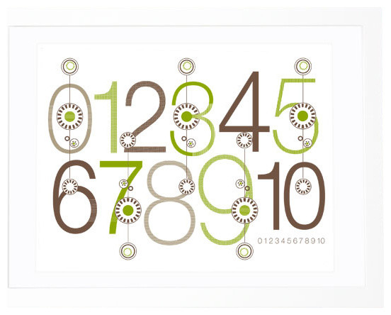 Green and Brown Bloom Numbers Print contemporary-nursery-decor