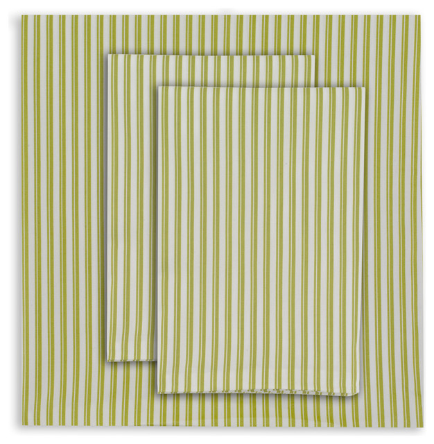 Queen Striped Sheet Set Spring Green Contemporary