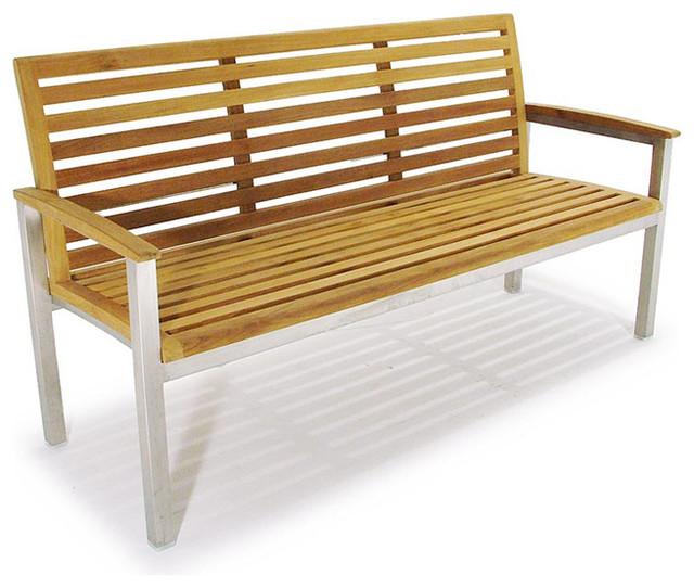 Vogue Stainless Steel And Teak 5ft Premium Bench Modern