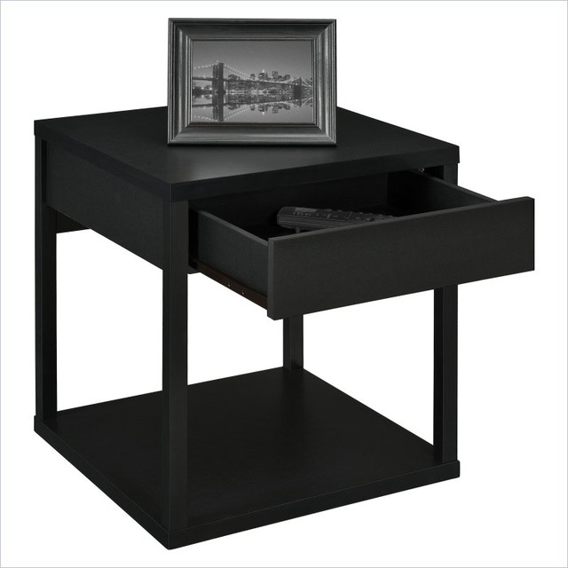 Square end table in black contemporary side tables and end tables