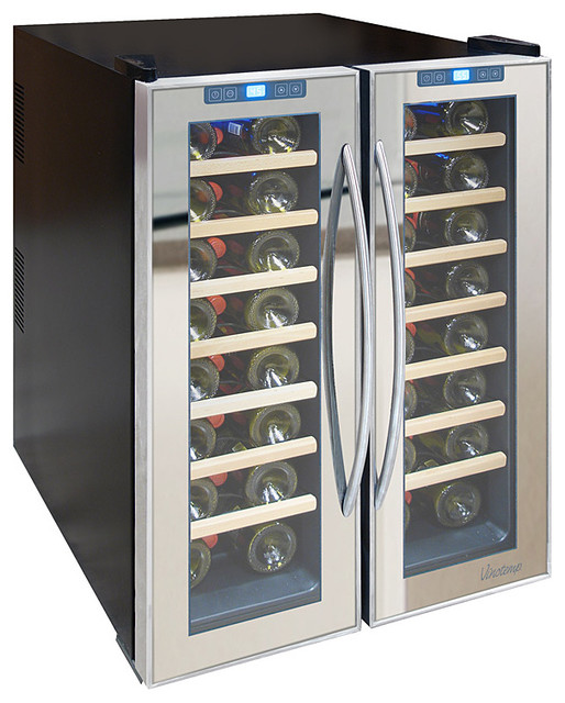 Vinotemp - 48-Bottle Dual-Zone Mirrored Wine Cooler contemporary-beer-and-wine-refrigerators