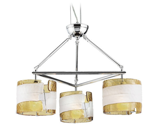 "Eurofase - Fluid Collection Yellow and White Glass 29"" Wide Chandelier - Ribboned saffron yellow glass is the edging to a frosted white glass center in this artistic rough cast glass design. This collection has a weightless light feel due to the specialized suspension system. Chrome finish. Saffron yellow and white glass. Takes three 60 watt bulbs (not included). 29"" wide x 25"" high. Shades are 7"" high. Max hang height 79"".  Chrome finish.   Saffron yellow and white glass.   Takes three 60 watt bulbs (not included).   29"" wide x 25"" high.  Shades are 7"" high.  Max hang height 79""."
