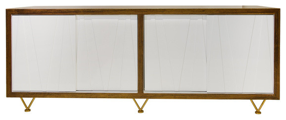 Worlds Away Glossy Hardwood Veneer Entertainment Console CRISSCROSS RWH - Traditional - Media ...