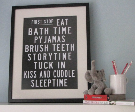Bedtime Bus Roll Poster by My Sweet Prints modern kids decor